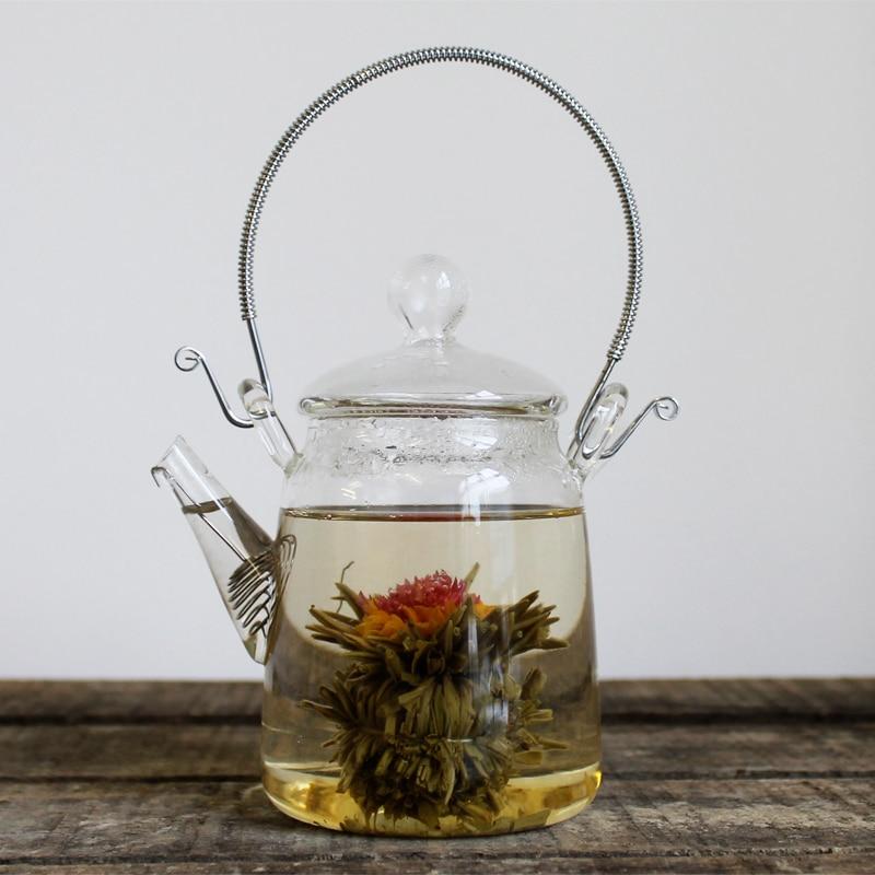 FLOWERING GLASS TEAPOT