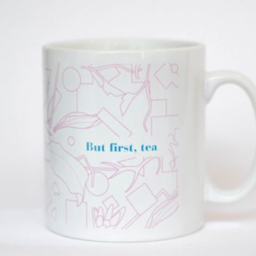 eteaket mug - but first, tea exclusive design