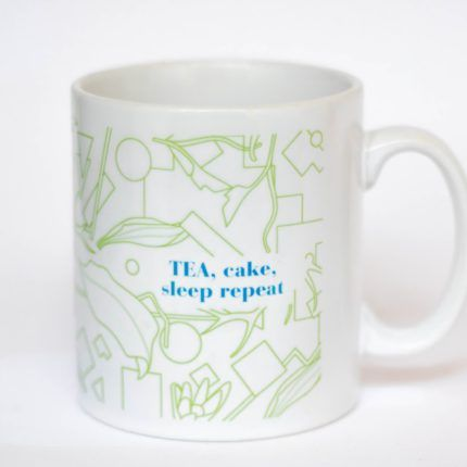 eteaket mug Tea, Cake, Sleep Repeat white mug with green print