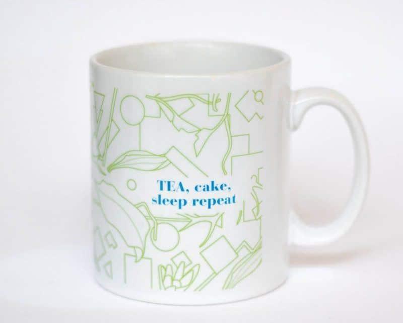 eteaket mug Tea, Cake, Sleep Repeat white mug with green print