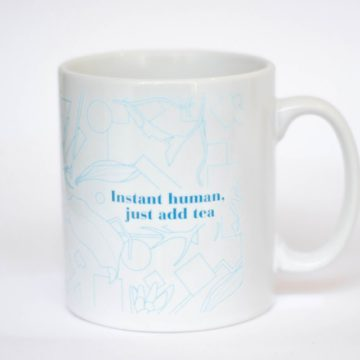 eteaket mug instant human, just add tea limited edition exclusive white with turquoise pattern, blue writing