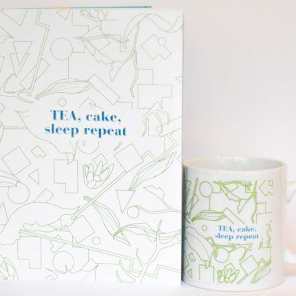 eteaket mug tea cake sleep repeat set
