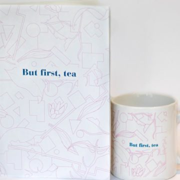 eteaket mug and notebook set but first tea