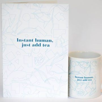 eteaket INSTANT HUMAN JUST ADD TEA MUG AND NOTEBOOK SET BLUE