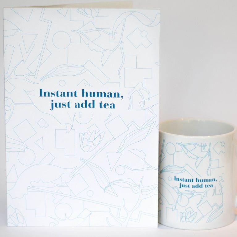 eteaket INSTANT HUMAN JUST ADD TEA MUG AND NOTEBOOK SET BLUE