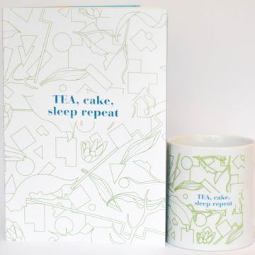 eteaket TEA CAKE SLEEP REPEAT MUG NOTEBOOK SET GREEN